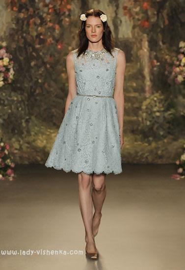 Короткий блакитне весільна сукня