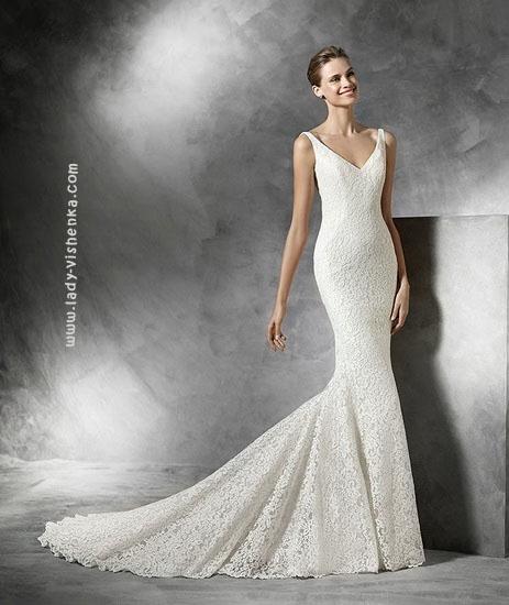 Атласна весільна сукня рибка Pronovias