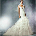 Атласное свадебное платье — русалочка 2016