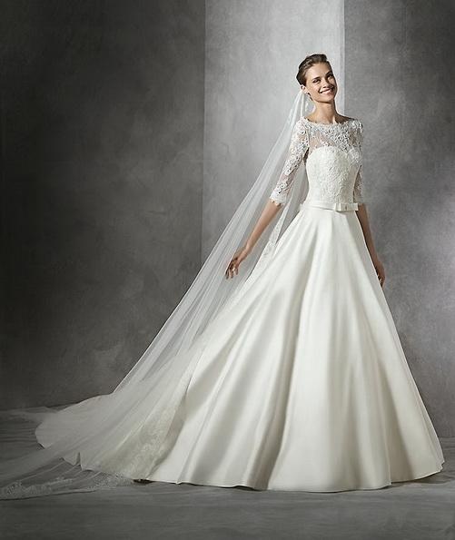 Атласна весільна сукня принцеси зі шлейфом - Pronovias 2016