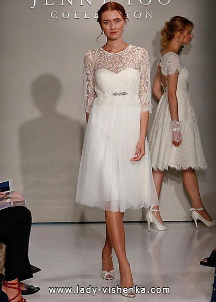 Мереживна коротке весільне плаття з рукавами - Jenny Yoo