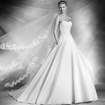 Свадебное платье с атласной юбкой 2016