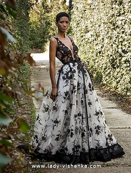 Весільну сукню з чорним мереживом і квітами 2016 - Jordi Dalmau