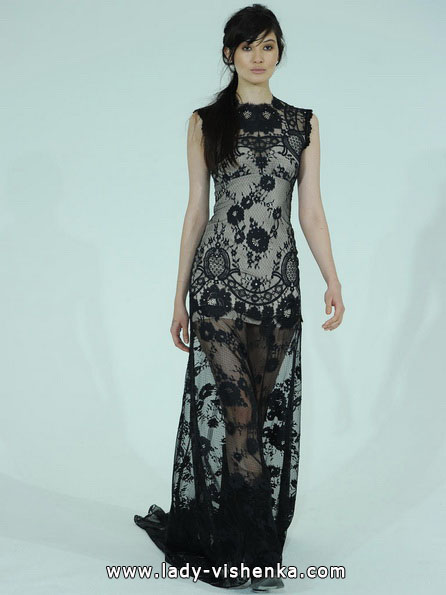 Весільну сукню з чорним мереживом 2016 - Claire Pettibone