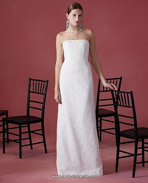Пряме мереживна весільна сукня Oscar De La Renta