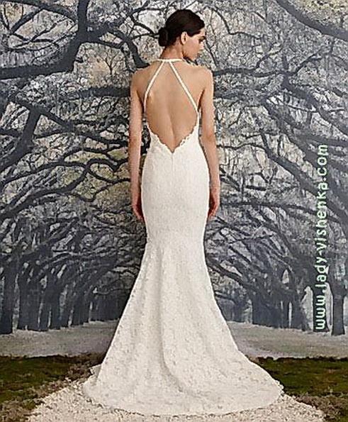 Спина мереживного весільного плаття - рибка - Nicole Miller