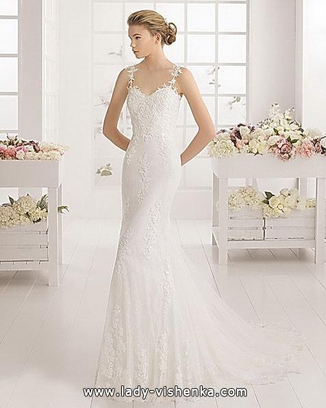Мереживне весільне плаття рибка з шлейфом