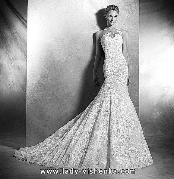 Мереживне весільне плаття русалонька зі шлейфом 2016