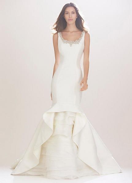Атласна весільна сукня - риб'ячий хвіст - Carolina Herrera