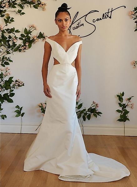 Весільну сукню з атласу зі шлейфом Austin Scarlet 2016