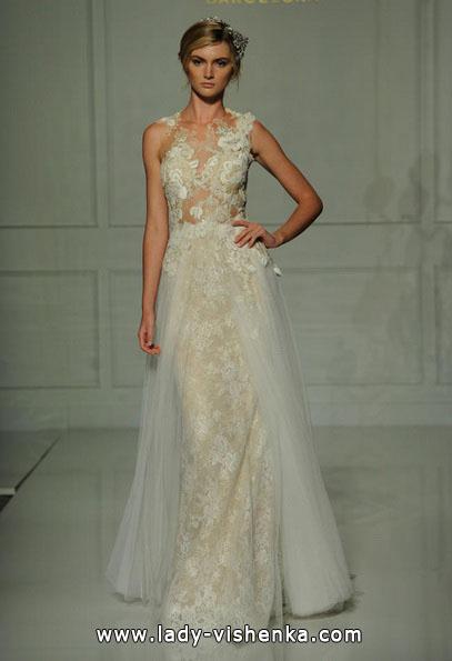Пряме весільну сукню з мереживом 2016 - Pronovias