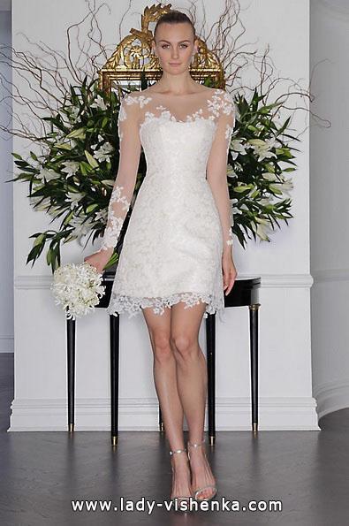 Мереживна коротке весільне плаття з рукавами 2016 - Romona Keveza