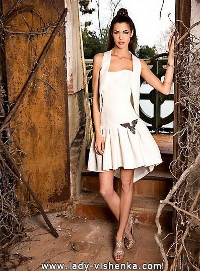 Коротке весільне плаття з накидкою 2016 - Jordi-Dalmau