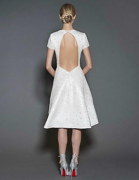 Короткі весільні сукні з рукавами і відкритою спиною 2016 - Naeem Khan