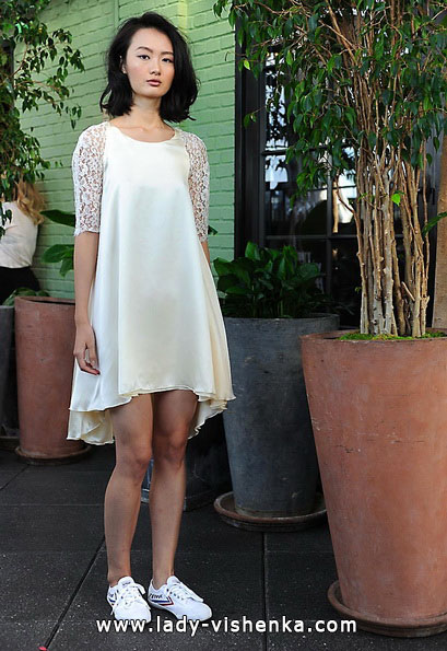 Короткі весільні сукні з мереживними рукавами 2016 - Sarah Seven