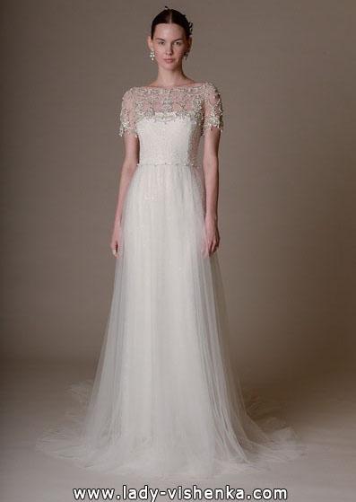 Просте весільну сукню з закритими плечима 2016 - Marchesa