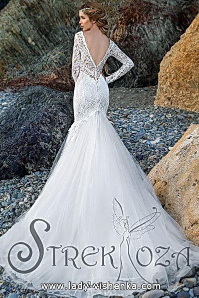 Весільну сукню рибка з рукавами і шлейфом - Strekoza