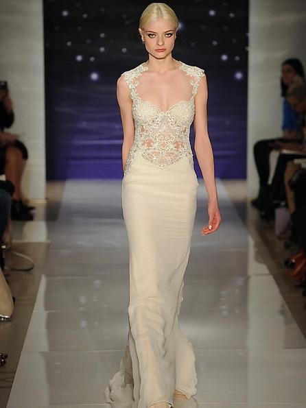 Весільну сукню з атласною спідницею Reem Acra 2016