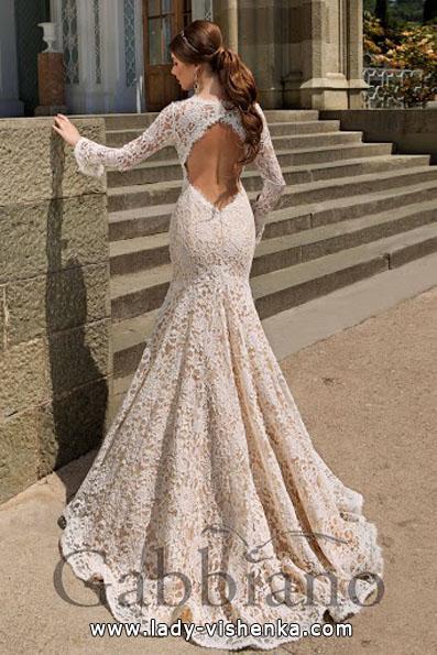 Весільну сукню рибка з мереживним рукавом - Gabbiano