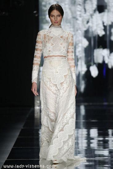 Мереживне весільне плаття з рукавами YolanCris