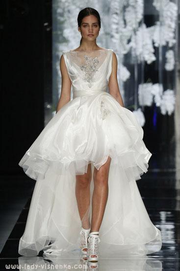Коротке весільне плаття зі шлейфом YolanCris